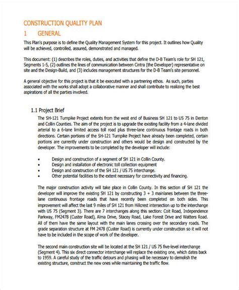 construction quality management plan template 47 management plan exles
