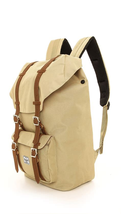 backpack with leather straps herschel supply co america backpack with leather straps in khaki for lyst