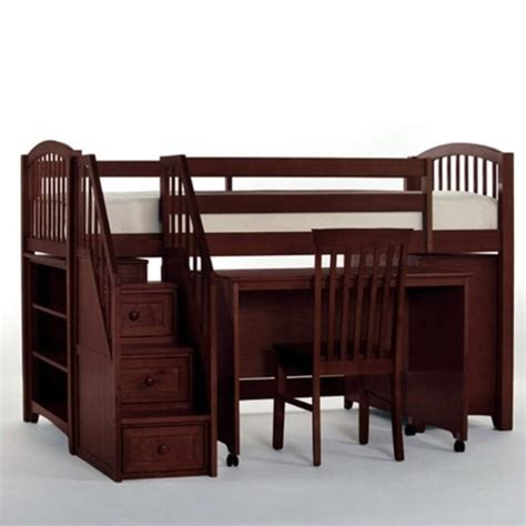 junior loft bed with stairs ne kids school house junior loft bed with stairs in cherry