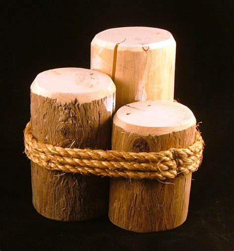 Wood 3 Pier Post Tealight Wood Pilings Pier Posts Nautical Display Decor 6 Inch Ebay