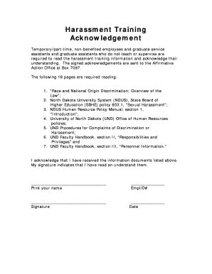 Harassment Acknowledgement Of Receipt Form Template by Fillable Und Nodak Harassment