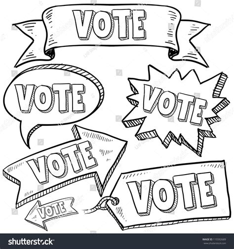doodle poll for voting doodle style vote election banners tags stock vector