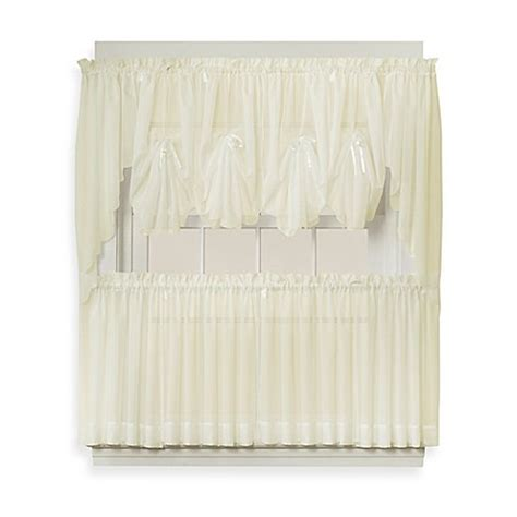 tier curtains 30 inch buy emelia 30 inch sheer window curtain tier pair in ecru