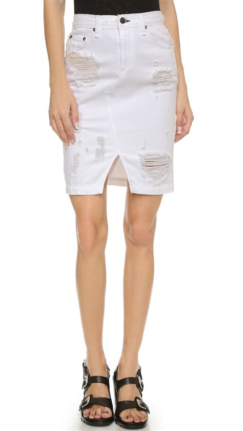 rag bone jean denim skirt shredded white in white