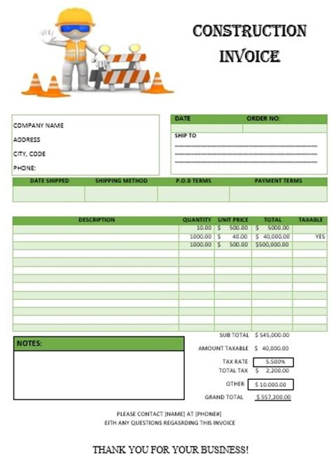 construction receipt template construction invoice template free word templates
