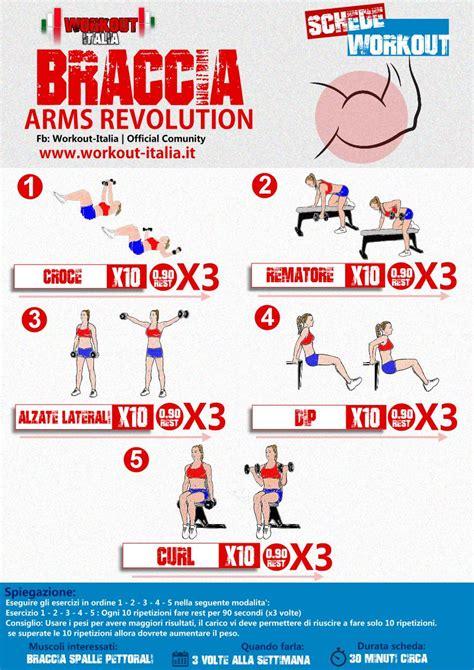 scheda allenamento a casa armsrevolution scheda workout allenamento braccia