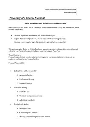 Informal Outline Meaning by 200 Thesis Statement And Informal Outline Worksheet