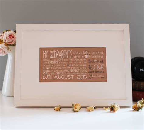 personalised godparent gift with verse by a touch of verse