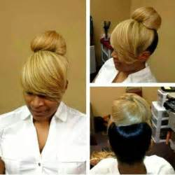black hairstyles bun with bangs two toned bun with bangs hair ideas pinterest