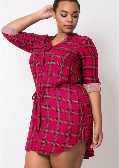 Plaid Dress Size 8t plus size plaid button sleeve mini dress fairyseason