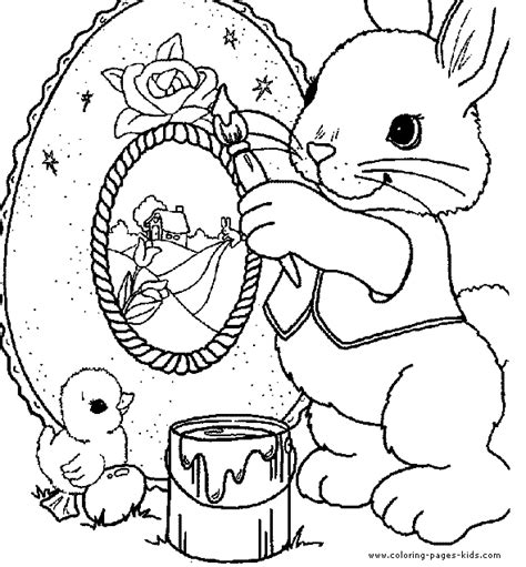easter bunny painting an easter egg easter color page