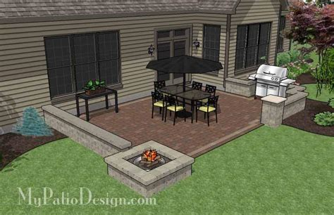 rectangular patio design with seat walls and fire pit download plan mypatiodesign com