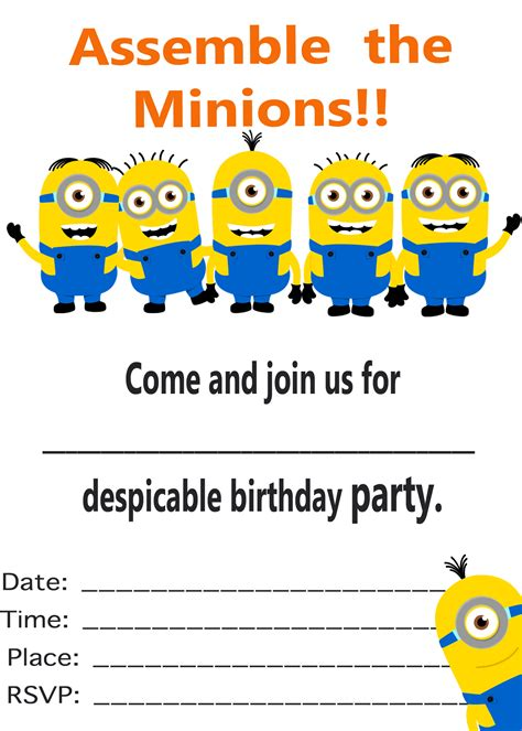Minion Printable Invitation Template Car Interior Design Minion Birthday Invitations Templates Free