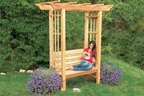 garden bench arbour how to build an arbor bench for your garden diy projects