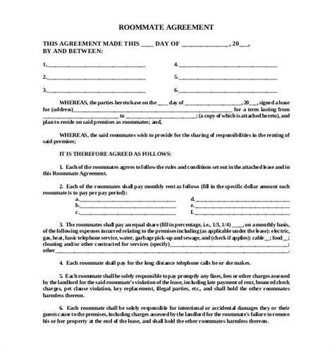 Roommate Agreement Template 11 Free Word Pdf Document Download Free Premium Templates Living Agreement Contract Template
