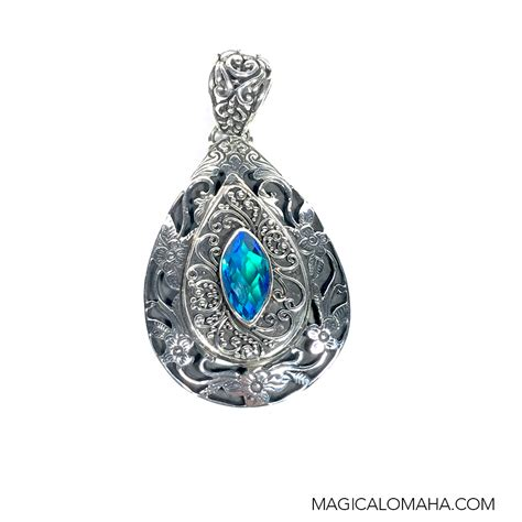 sterling silver teardrop caribbean topaz pendant 2