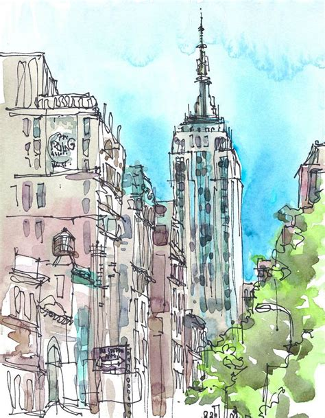 sketchbook new york new york sketch empire state new york city print from