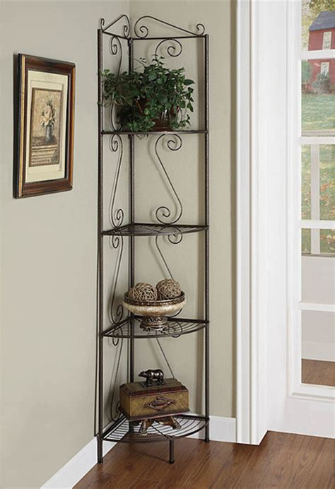 copper metal corner shelf system contemporary display