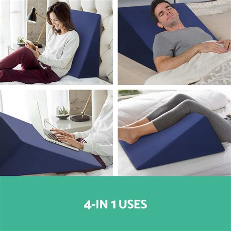 bed wedge flip pillow back neck support flip 4 leg support 2x memory foam bed wedge pillow cushion neck back support