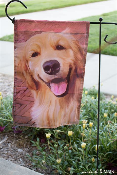 golden retriever flags a colorfully stylized front porch modish