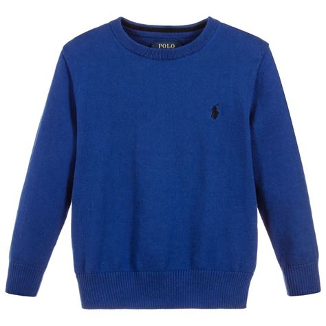 knit cotton sweater polo ralph boys blue cotton knit sweater