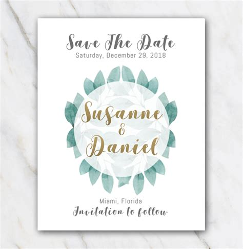 green leaves wedding save  date template