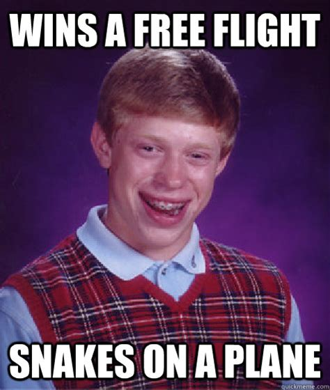 Snakes On A Plane Meme - wins a free flight snakes on a plane bad luck brian