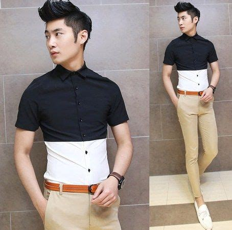 Kemeja Nathan 2014 trendy black white contrast color slim summer