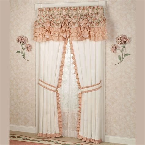 coral ruffle curtains gold dot and coral ruffle curtain panels set of 2 melody floral ruffled
