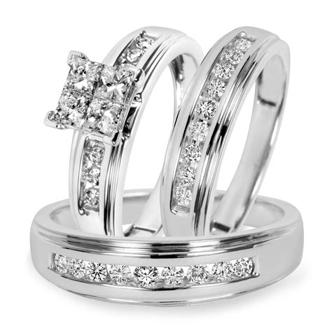 1 carat t w trio matching wedding ring set 10k