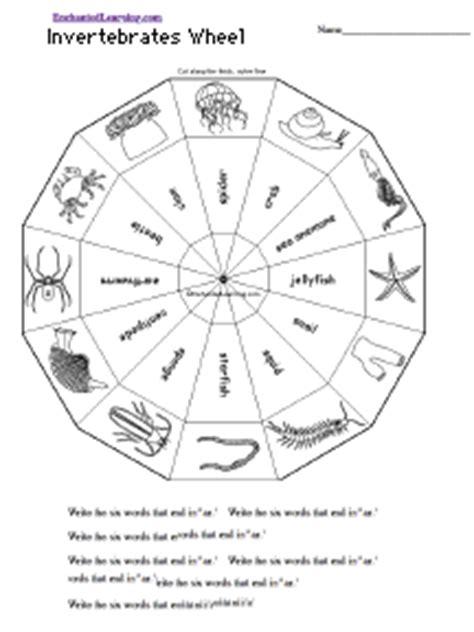 invertebrates wheel bottom printable worksheet