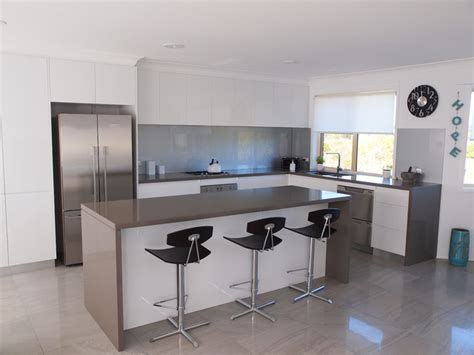 white kitchens grey bench tops modern quot shadowline handle less style quot with 40mm p r edge