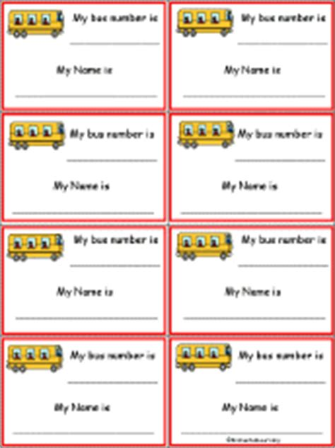 printable bus tags kindergarten first day of school first day of school name tag activities