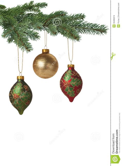 christmas baubles hanging on pine tree stock photo image