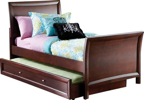 bed with trundle league cherry 4 pc sleigh bed w trundle trundle beds wood