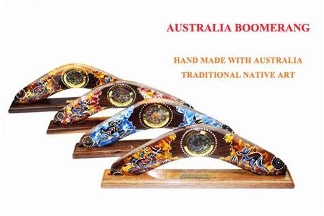 Tempelan Kulkas Australia Souvenir Australia wood australia souvenir made boomerang with aboriginal symbols ebay