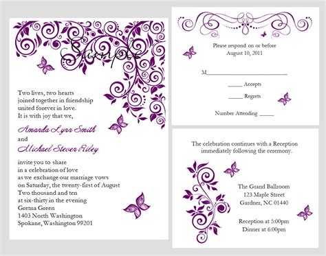 butterfly wedding invitations templates 100 personalized custom purple butterfly bridal wedding