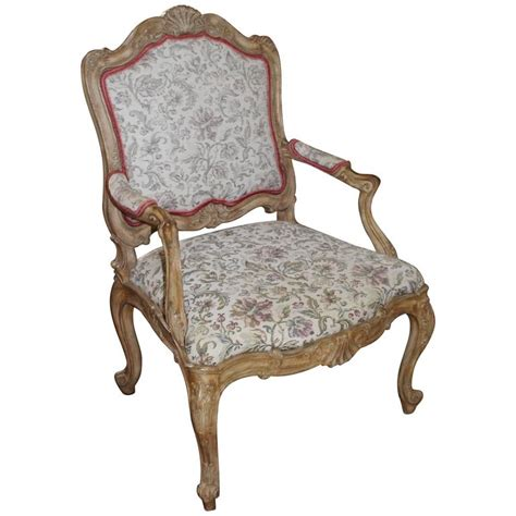Upholstered Armchair Styles by Carved Style Fauteuil Upholstered Armchair For Sale