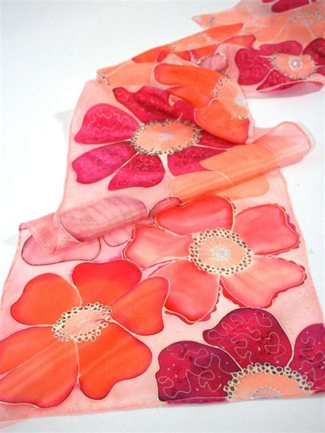 Artificial Coral 024 pink floral scarf pink scarves coral scarf by silkiness pinteres