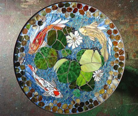 mosaic koi pattern mosaic table koi fish art stained glass mosaic art