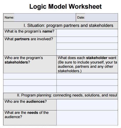 12 Sle Logic Models Sle Templates Logic Model Template Word