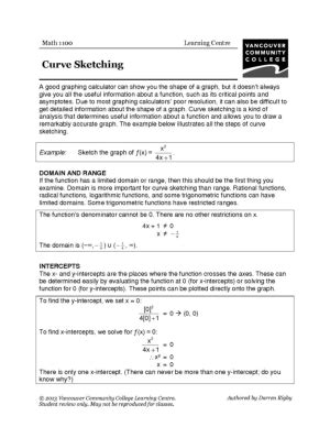 Curve Sketching Worksheet by 19 Best Images Of College Math Review Worksheets 7th