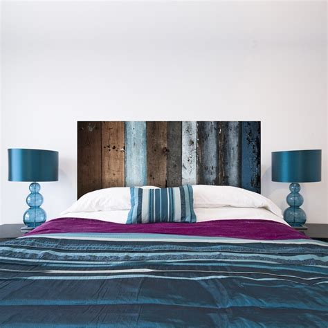sticker t 234 te de lit en bois bleu d 233 coration tendance
