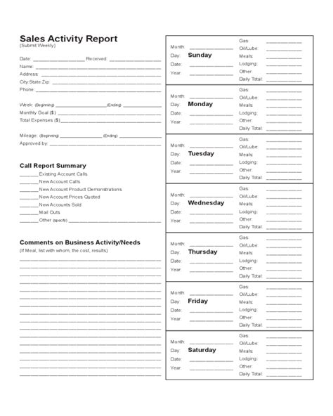 activity report template pdf sales activity report template edit fill sign