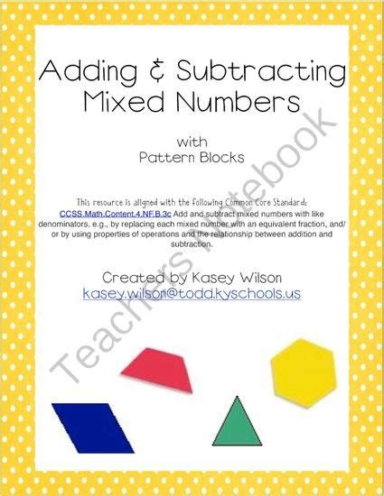 mixed numbers pattern blocks adding subtracting mixed numbers with pattern blocks