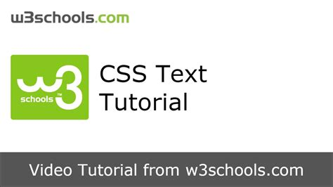 Css Tutorial Text | w3schools css text tutorial youtube