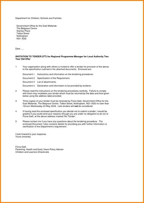Tender Cover Letter by 10 Invitation To Tender Letter Ledger Paper