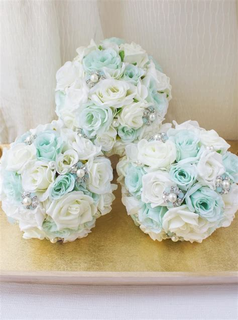 And Bridesmaid Flower Bouquets by Mint Brooch Bouquet Bridesmaid Bouquet Silk Flower