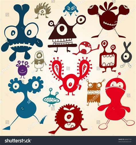 doodle monsters vector doodle monsters stock vector 68907718