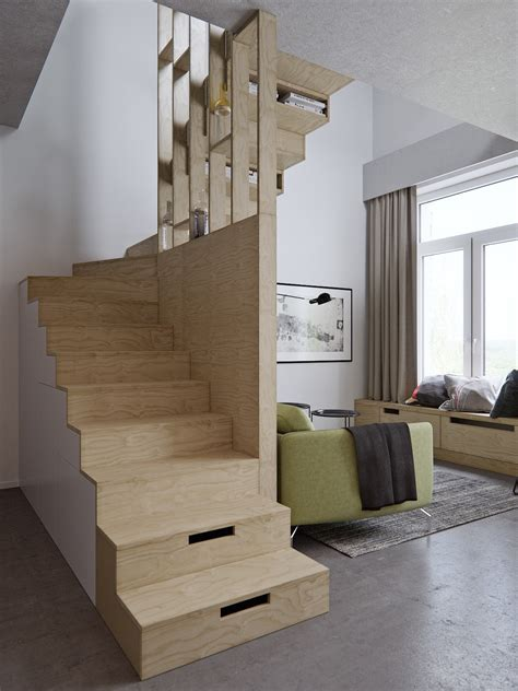 Apartment Stairs Design 4 Small Apartment Designs 50 Square Meters